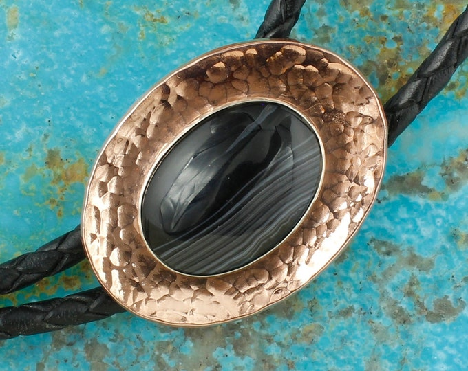 Natural Black Onyx Bolo Tie - Western Bolo Tie - Cowboy Bolo Tie Necklace - Copper Bolo Tie