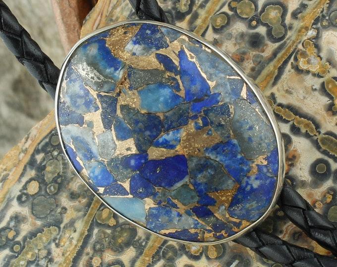 Lapis Lazuli & Bronze Bolo Tie - Western Bolo Tie -Cowboy Bolo Tie Necklace - Sterling Silver Bolo Tie
