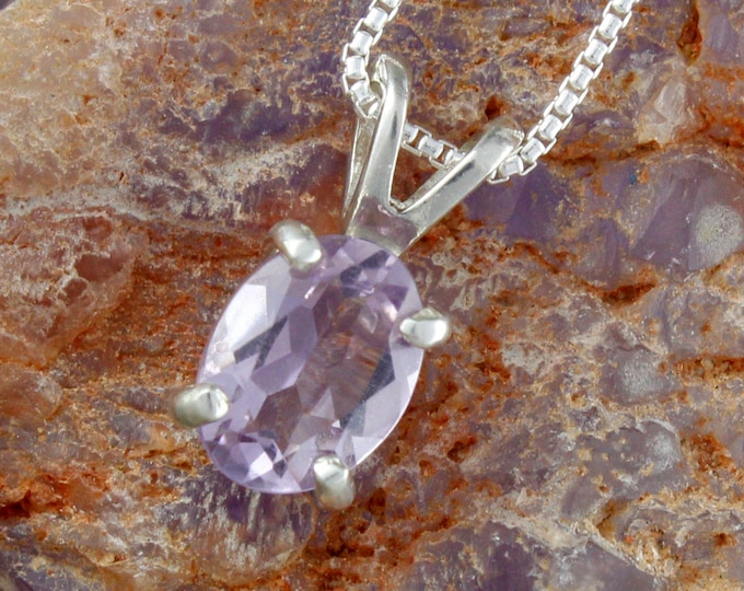 Natural Amethyst Pendant -Sterling Silver Pendant -Amethyst Necklace - Pendant Necklace