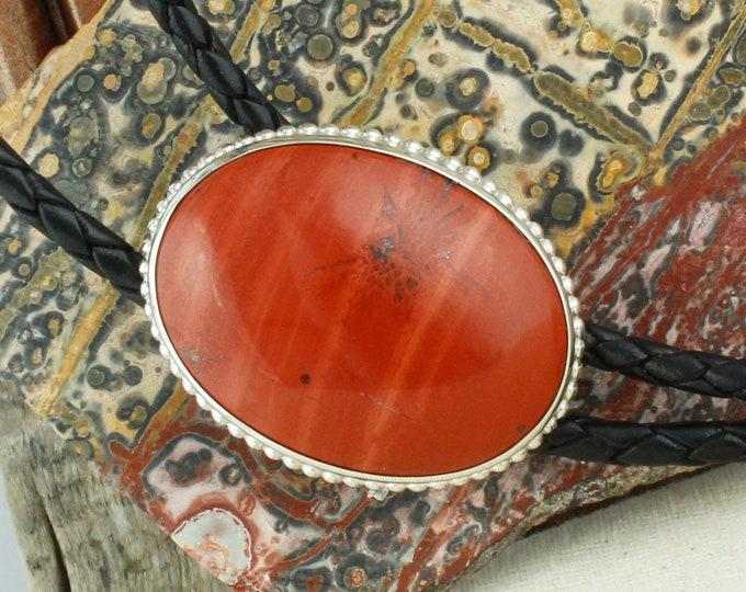 Natural Red Jasper Bolo Tie - Western Bolo Tie - Cowboy Bolo Tie Necklace - Sterling Silver Bolo Tie