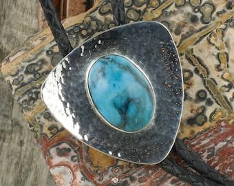 Kingman Turquoise Bolo Tie - Sterling Silver Western Bolo Tie - Cowboy Bolo Tie Necklace