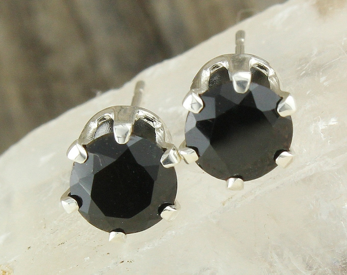 Natural Black Spinel Earrings - Sterling Silver Earrings - Black Spinel Studs - Stud Earrings