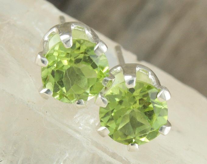 Natural Peridot Earrings - Sterling Silver Earrings -Green Peridot Studs - Stud Earrings