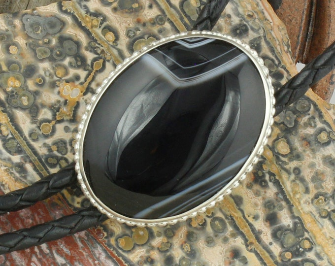 Natural Black & White Onyx Bolo Tie -Western Bolo Tie -Cowboy Bolo Tie Necklace - Sterling Silver Bolo Tie