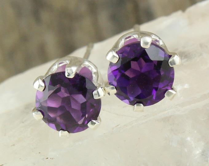 Natural Purple Amethyst Earrings -Sterling Silver Earrings -Purple Amethyst Studs - Stud Earrings