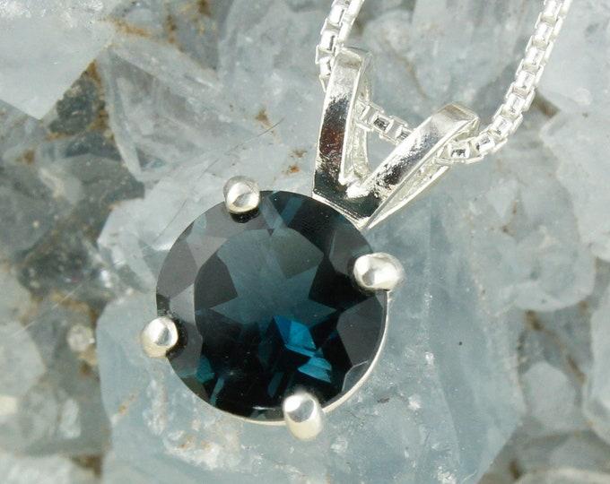Natural London Blue Topaz Pendant-Sterling Silver Pendant Necklace - London Blue Topaz Necklace