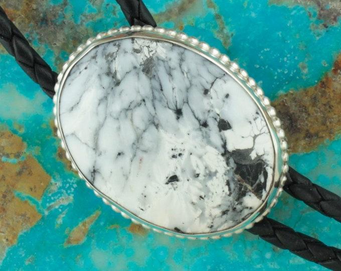 Natural White Buffalo Bolo Tie - Western Bolo Tie -Cowboy Bolo Tie Necklace - Sterling Silver Bolo Tie