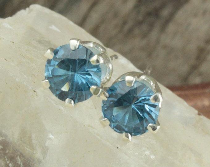 Natural London Blue Topaz - Sterling Silver Earrings - London Blue Topaz Studs - Stud Earrings