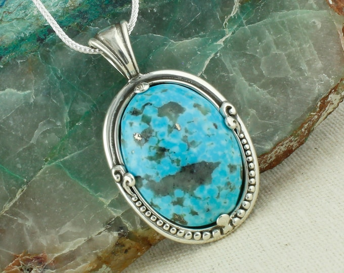 Blue Kingman Turquoise Pendant - Sterling Silver Pendant Necklace - Kingman Turquoise Necklace