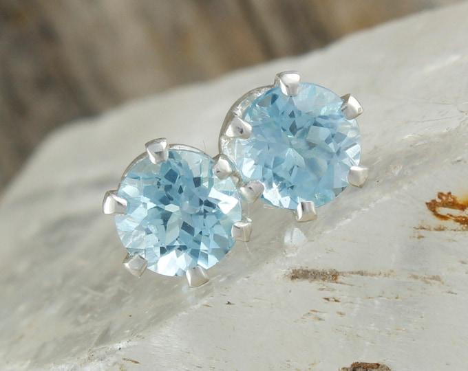 Natural Aquamarine Earrings - Sterling Silver Earrings - Blue Aquamarine Studs - Stud Earrings