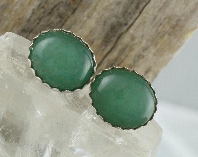Natural Green Aventurine Earrings -Sterling Silver Earrings -Green Aventurine Studs -Stud Earrings