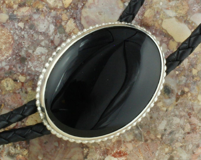 Natural Black Onyx Bolo Tie - Western Bolo Tie - Cowboy Bolo Tie Necklace - Sterling Silver Bolo Tie