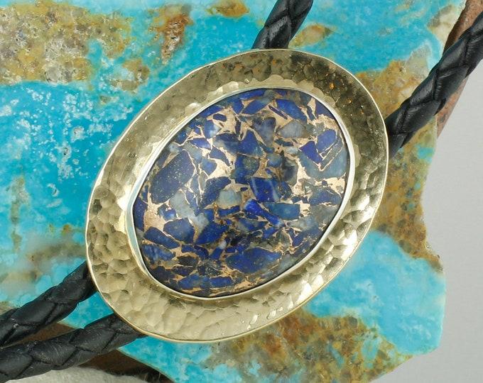Lapis Lazuli & Bronze Bolo Tie - Brass and Silver Western Bolo Tie - Cowboy Bolo Tie Necklace