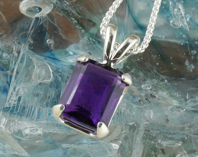 Sterling Silver Amethyst Pendant - Natural Amethyst Necklace