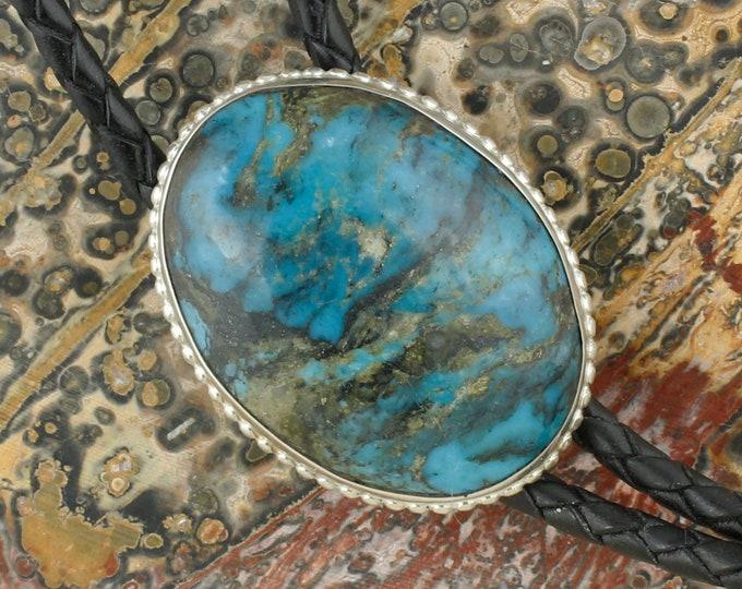 Blue Kingman Turquoise Bolo Tie - Sterling Silver Western Bolo Tie - Cowboy Bolo Tie Necklace