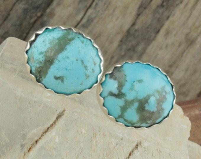 Kingman Turquoise Earrings -Sterling Silver Earrings -Blue Kingman Turquoise Studs - Stud Earrings