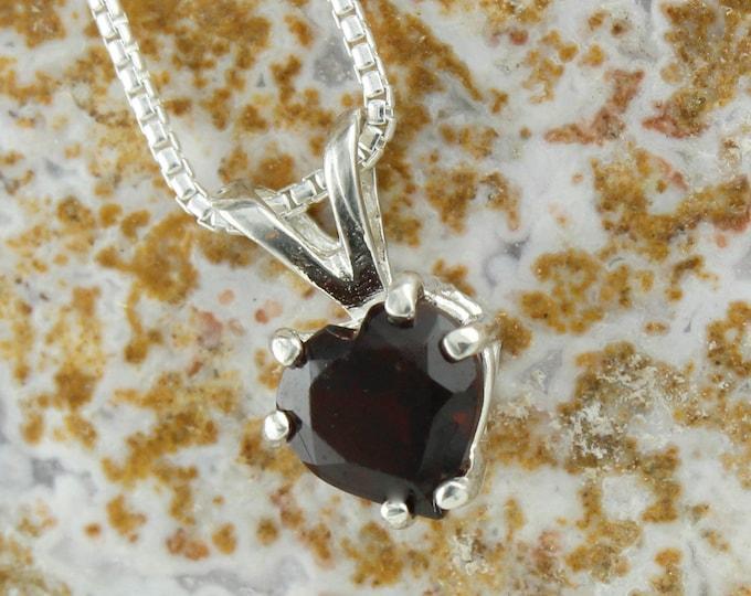 Natural Red Garnet Pendant - Sterling Silver Pendant Necklace -Red Garnet Necklace - Heart Pendant