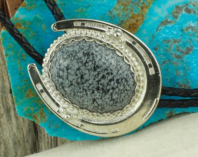 Natural Snowflake Obsidian Bolo Tie -Western Bolo Tie -Cowboy Bolo Tie Necklace - Horseshoe Bolo Tie