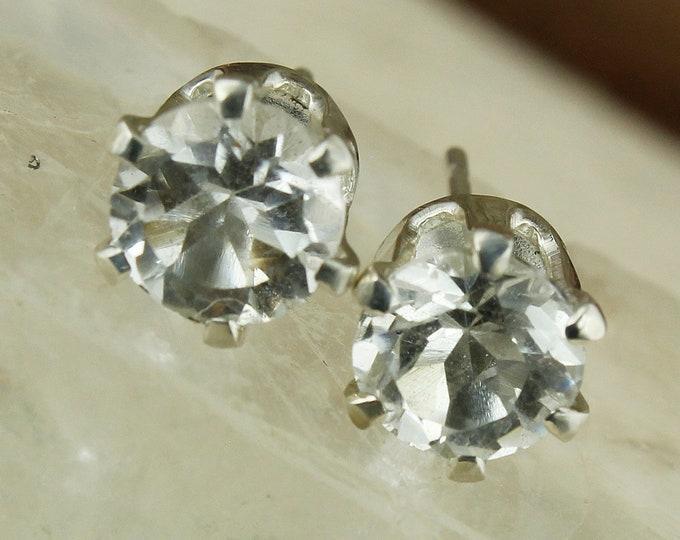 Natural White Topaz Earrings - Sterling Silver Earrings - Natural White Topaz Studs - Stud Earrings