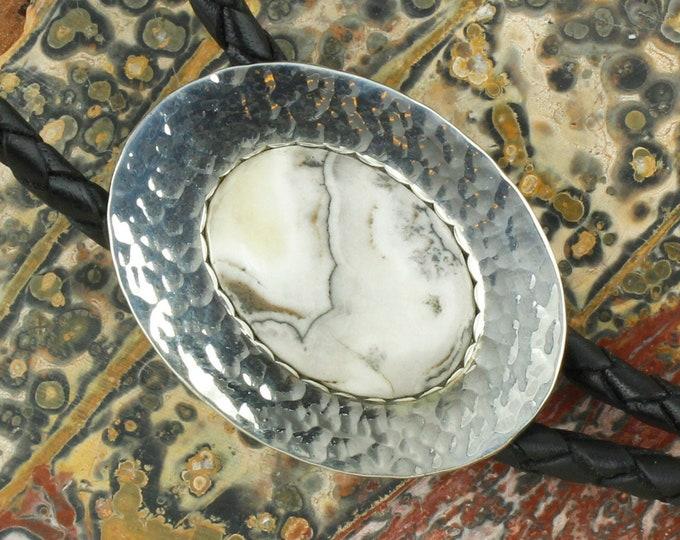 Natural Silver Lace Onyx Bolo Tie - Western Bolo Tie - Cowboy Bolo Tie Necklace - Sterling Silver Bolo Tie