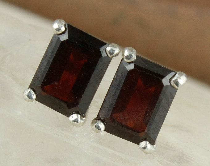 Natural Red Garnet Earrings - Sterling Silver Earrings -Red Garnet Studs - Stud Earrings