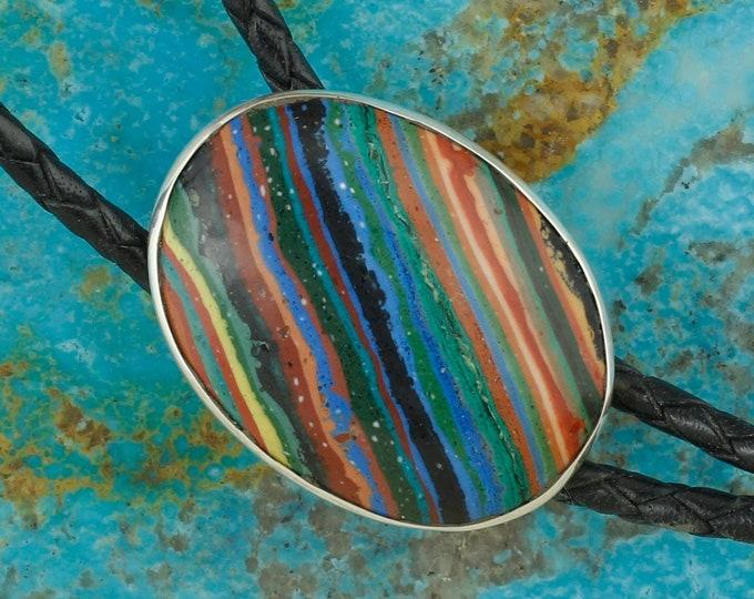 Rainbow Calsilica Bolo Tie - Western Bolo Tie - Sterling Silver Bolo Tie - Cowboy Bolo Tie