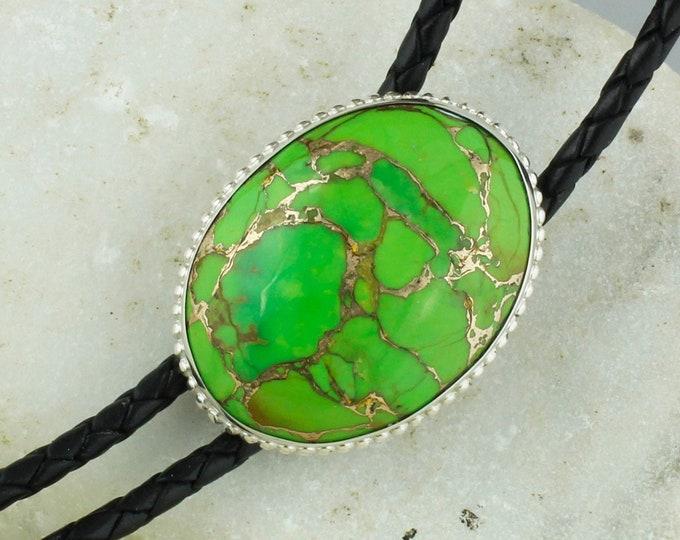 Mohave Green Turquoise Bolo Tie - Western Bolo Tie -  Cowboy Bolo Tie Necklace - Sterling Silver Bolo Tie