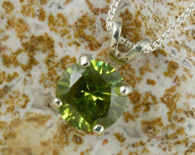 Natural Green Peridot Pendant - Sterling Silver Peridot Pendant - Natural Peridot Necklace