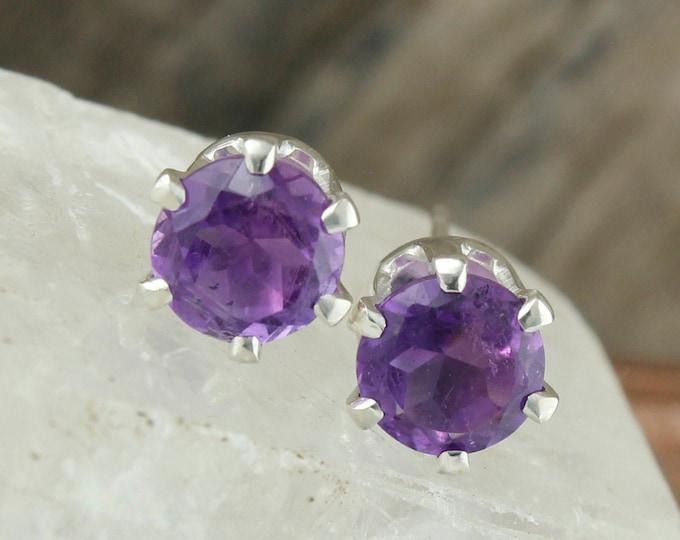 Natural Amethyst Earrings -Sterling Silver Earrings-Amethyst Studs - Stud Earrings
