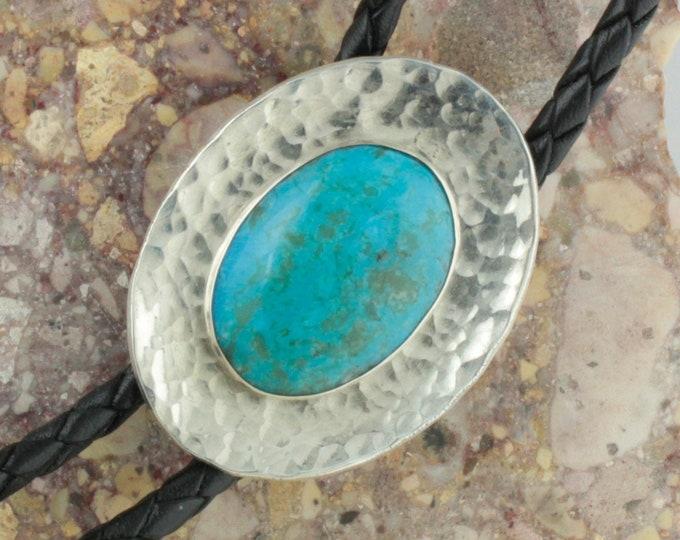 Blue Kingman Turquoise Bolo Tie -Western Bolo Tie -Cowboy Bolo Tie Necklace -Silver Bolo Tie