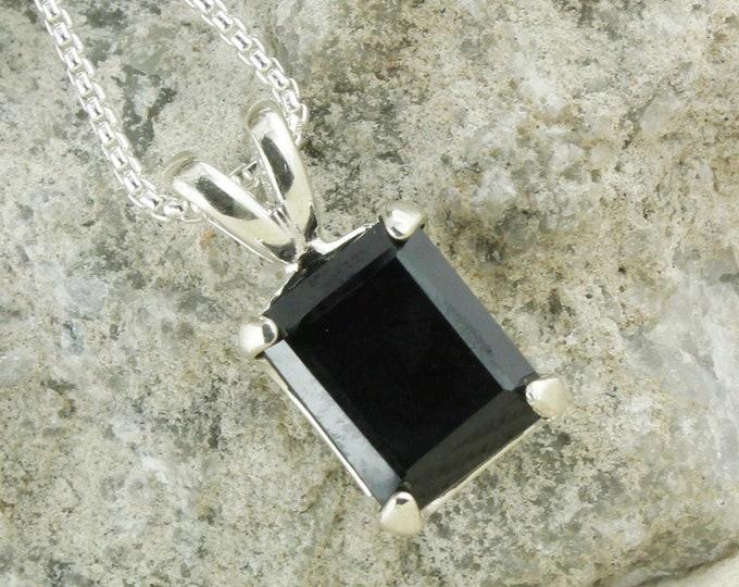 Natural Black Spinel Pendant - Sterling Silver Pendant Necklace - Natural Black Spinel Necklace