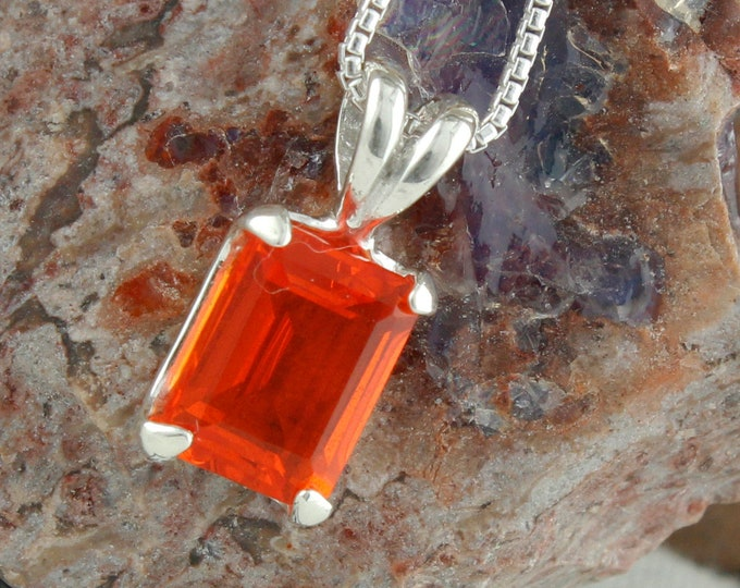 Natural Mexican Fire Opal Pendant -Sterling Silver Pendant Necklace - Mexican Fire Opal Necklace