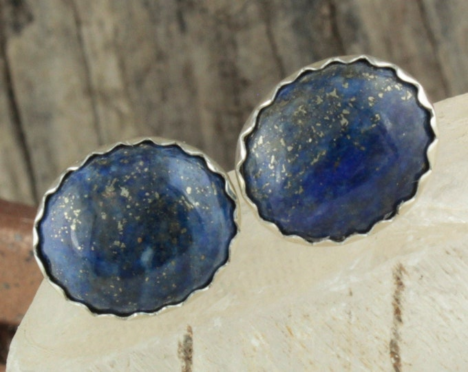 Natural Lapis Lazuli Earrings -Sterling Silver Earrings-Blue Lapis Lazuli Studs - Stud Earrings