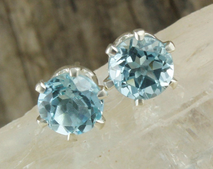 Natural Aquamarine Earrings - Sterling Silver Earrings -Aquamarine Studs - Stud Earrings