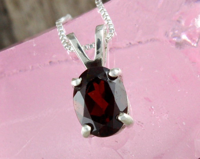 Natural Red Garnet Pendant - Sterling Silver Pendant - Red Garnet Necklace - Pendant Necklace