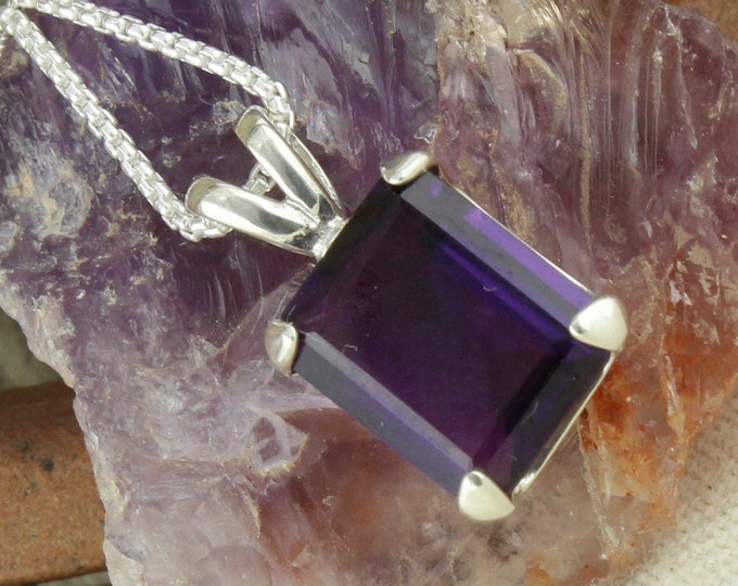 Natural Amethyst Pendant - Sterling Silver Pendant Necklace - Purple Amethyst Necklace