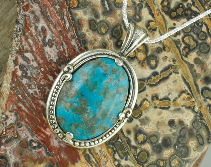 Kingman Turquoise Pendant - Sterling Silver Pendant Necklace -Blue Kingman Turquoise Necklace