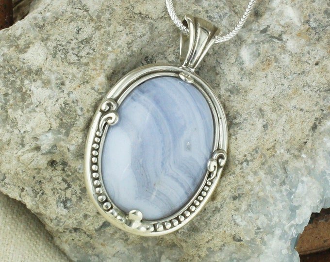 Natural Blue Lace Agate Pendant - Sterling Silver Pendant Necklace - Blue Lace Agate Necklace