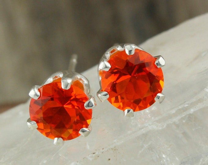 Natural Mexican Fire Opal Stud Earrings - Sterling Silver Earrings - Mexican Fire Opal Studs - Stud Earrings