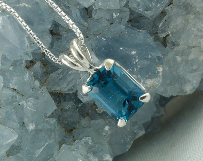 London Blue Topaz Pendant -Sterling Silver Pendant Necklace -London Blue Topaz Necklace