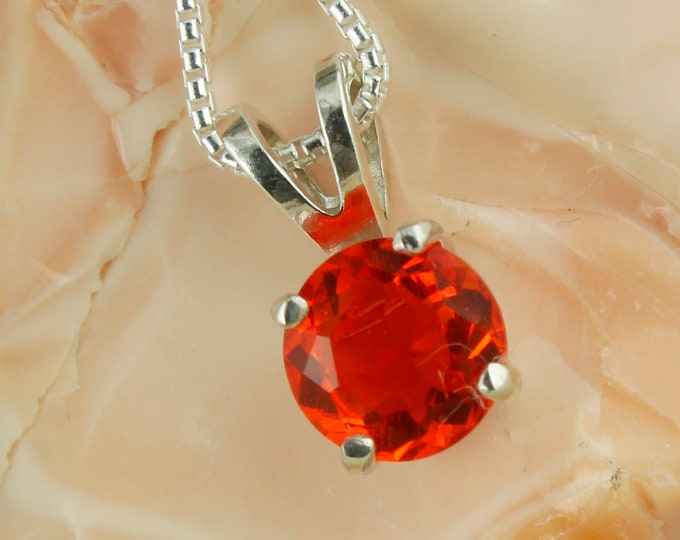 Natural Mexican Fire Opal Pendant-Sterling Silver Pendant Necklace - Mexican Fire Opal Necklace