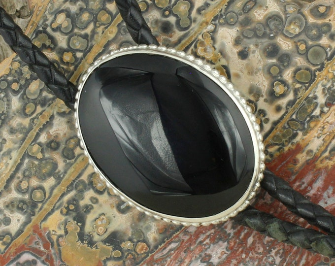 Natural Black Onyx Bolo Tie - Western Bolo Tie - Cowboy Bolo Tie Necklace - Sterling Silver Bolo