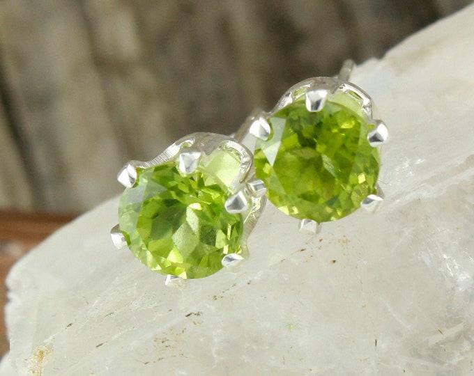 Natural Green Peridot Earrings - Sterling Silver Earrings - Green Peridot Studs - Stud Earrings