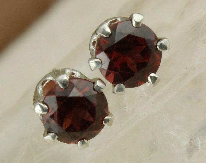 Natural Red Garnet Earrings - Sterling Silver Earrings -Red Garnet Studs - Stud Earrings
