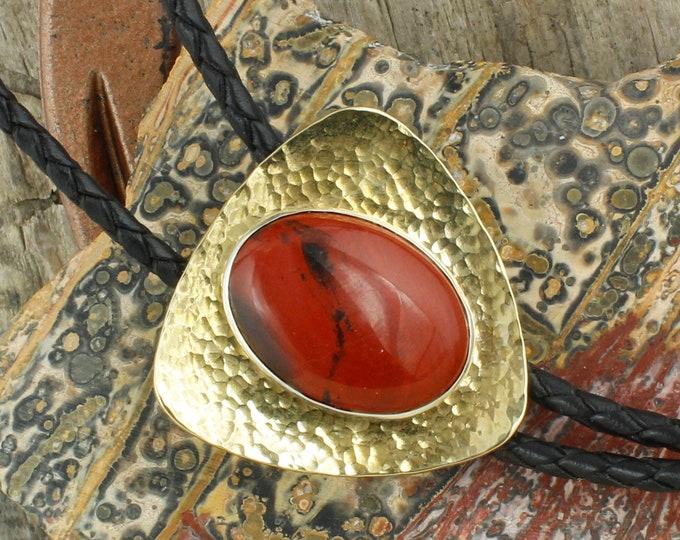 Natural Red Jasper Bolo Tie - Western Bolo Tie - Cowboy Bolo Tie Necklace - Brass Bolo Tie