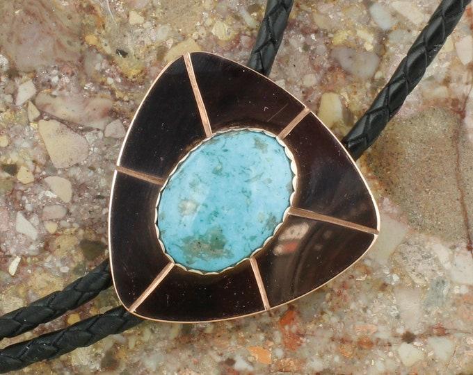 Blue Kingman Turquoise Bolo Tie-Western Bolo Tie - Cowboy Bolo Tie Necklace - Copper Bolo Tie