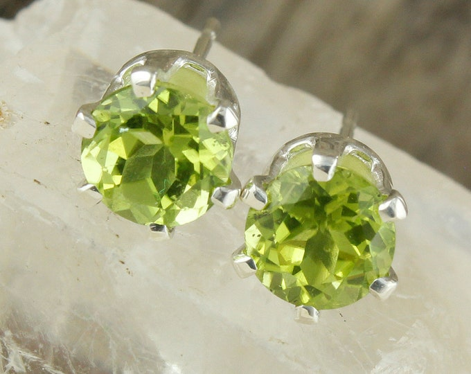 Natural Peridot Earrings - Sterling Silver Earrings -Green Peridot Studs - Stud Earrings
