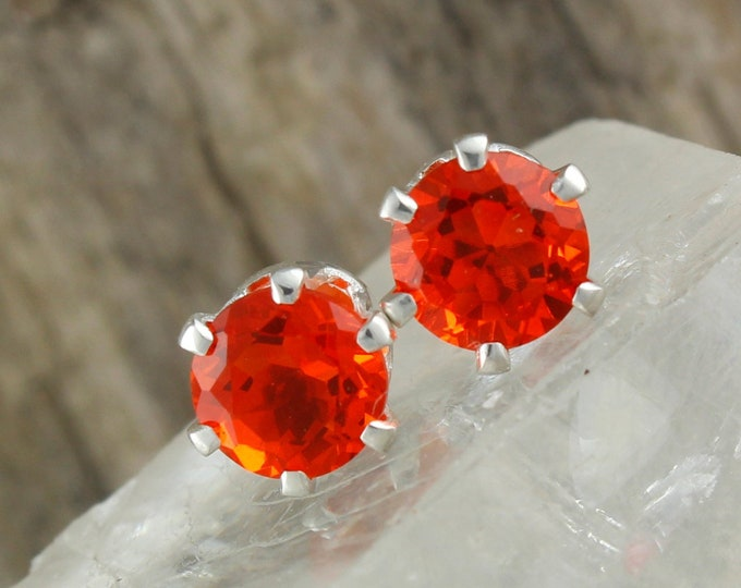 Natural Mexican Fire Opal Earrings - Sterling Silver Post Earrings - Mexican Fire Opal Studs - Stud Earrings