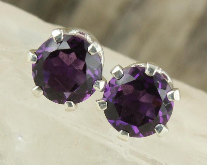 Natural Amethyst Earrings - Sterling Silver Earrings - Purple Amethyst Studs - Stud Earrings