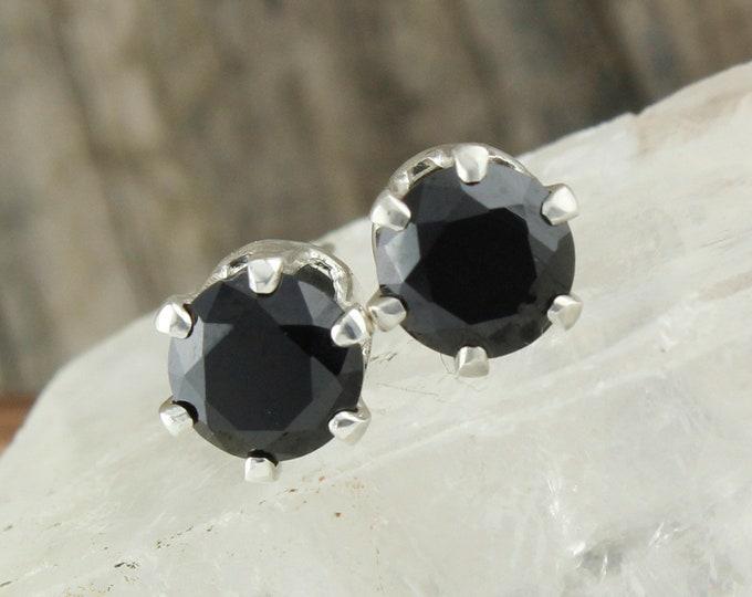 Natural Black Spinel Earrings - Sterling Silver Earrings - Black Spinel Studs - Stud Earrings